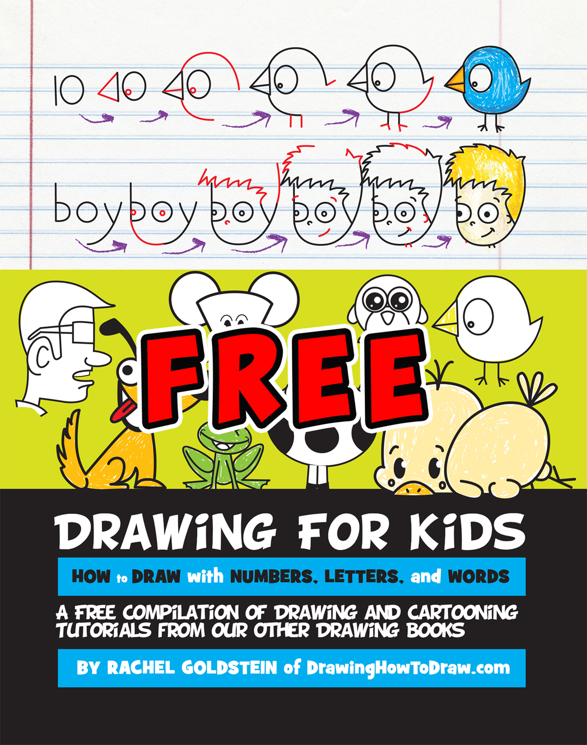 drawing for kids how to draw cartoons with letters numbers and words - Kids Free Drawing