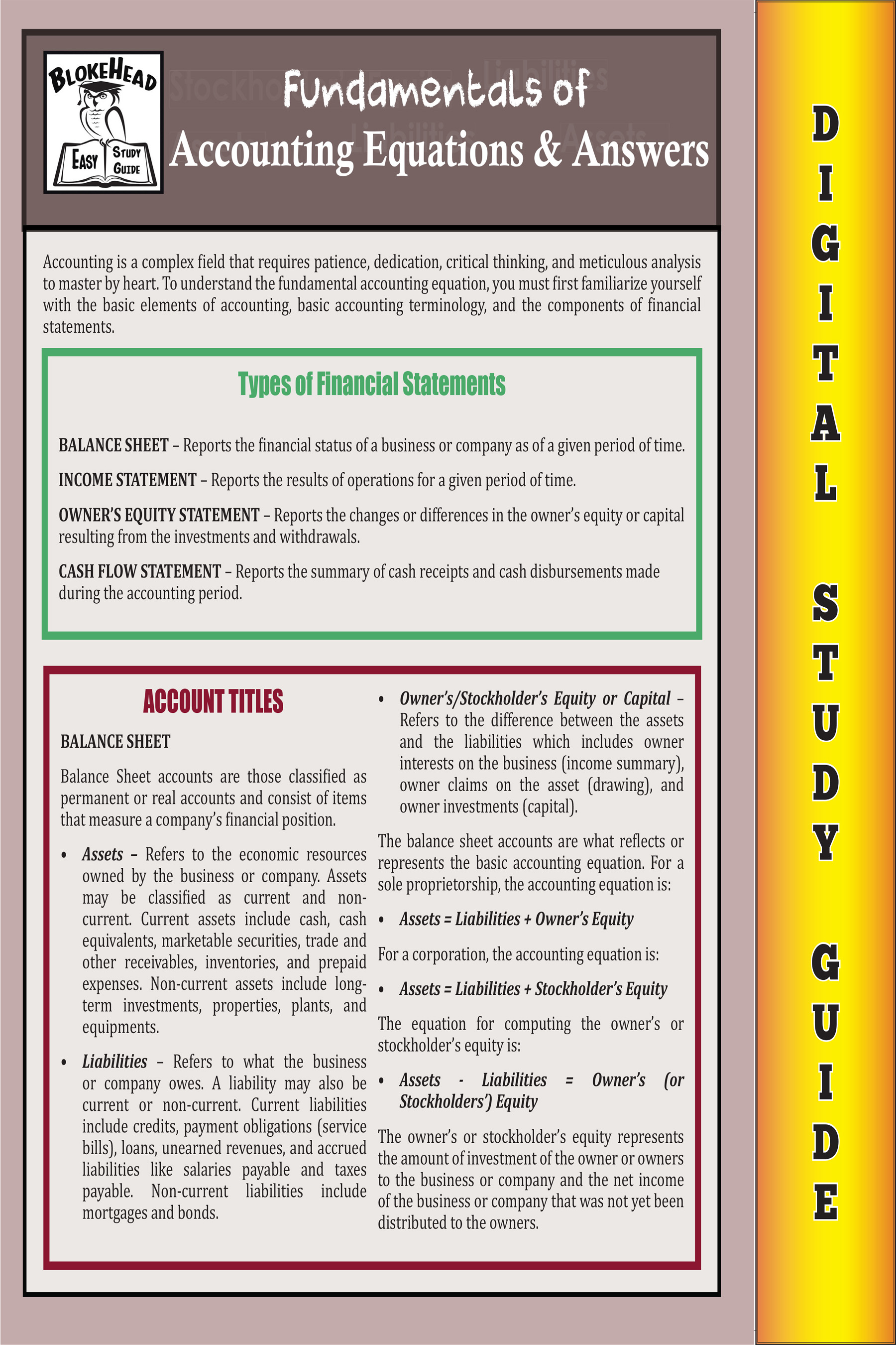 Accounting Equations & Answers ( Blokehead Easy Study Guide)