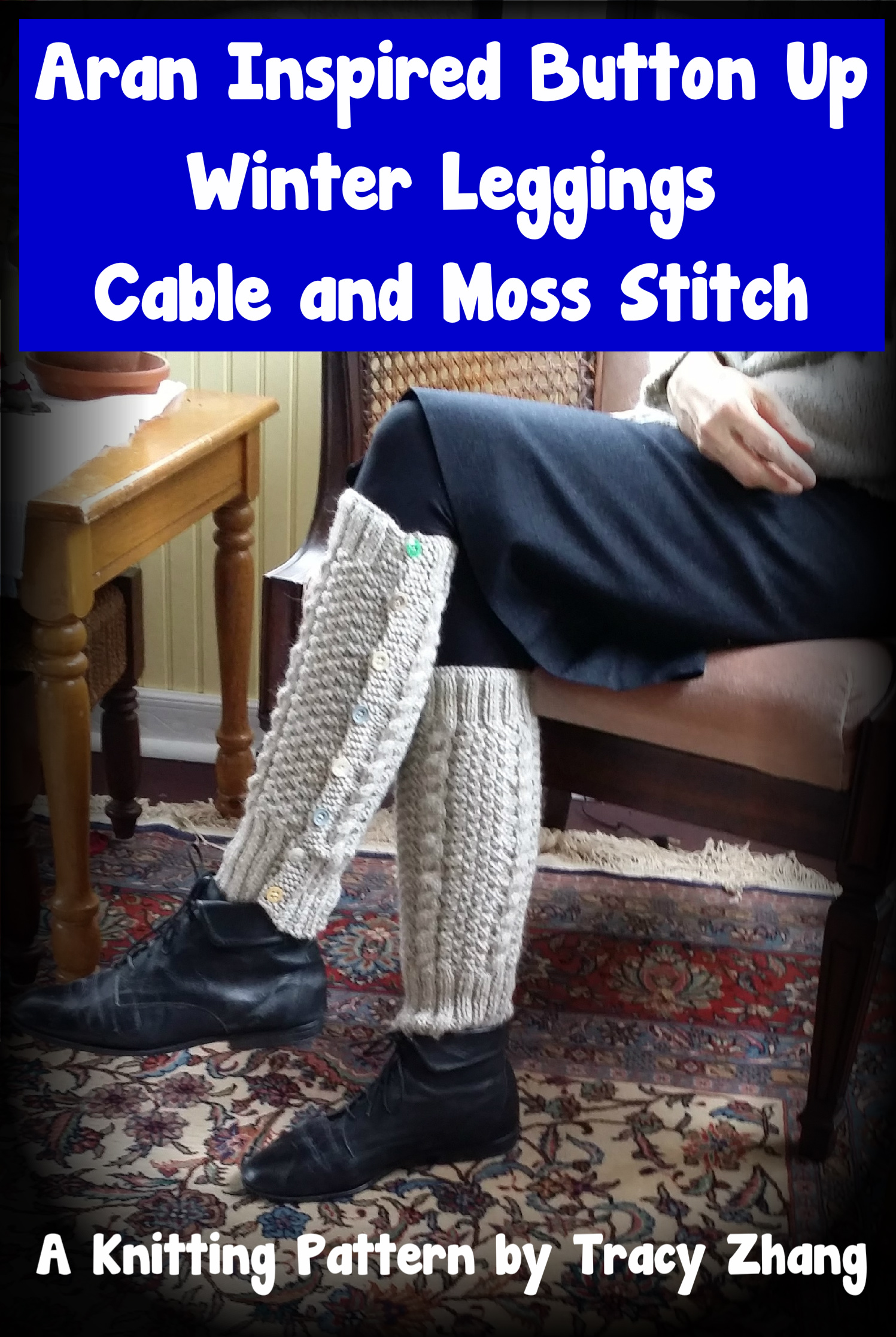 Smashwords Aran Inspired Button Up Winter Leggings Cable Moss
