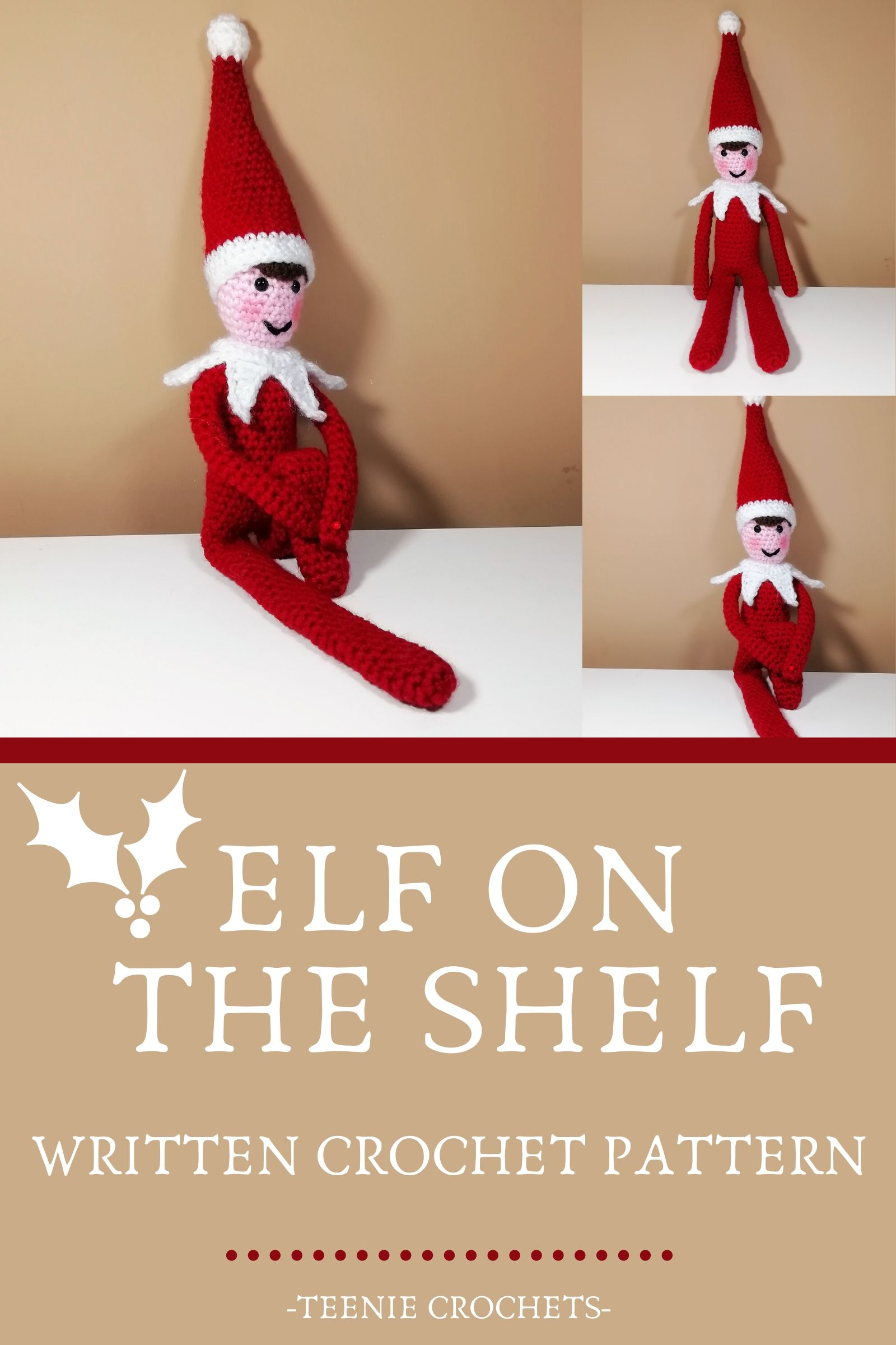 "Holiday Shelf Elf Doll 14"" tall - Free Amigurumi Pattern - Click ... 