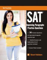 Vibrant Publishers - SAT Writing: Improving Paragraphs Practice Questions