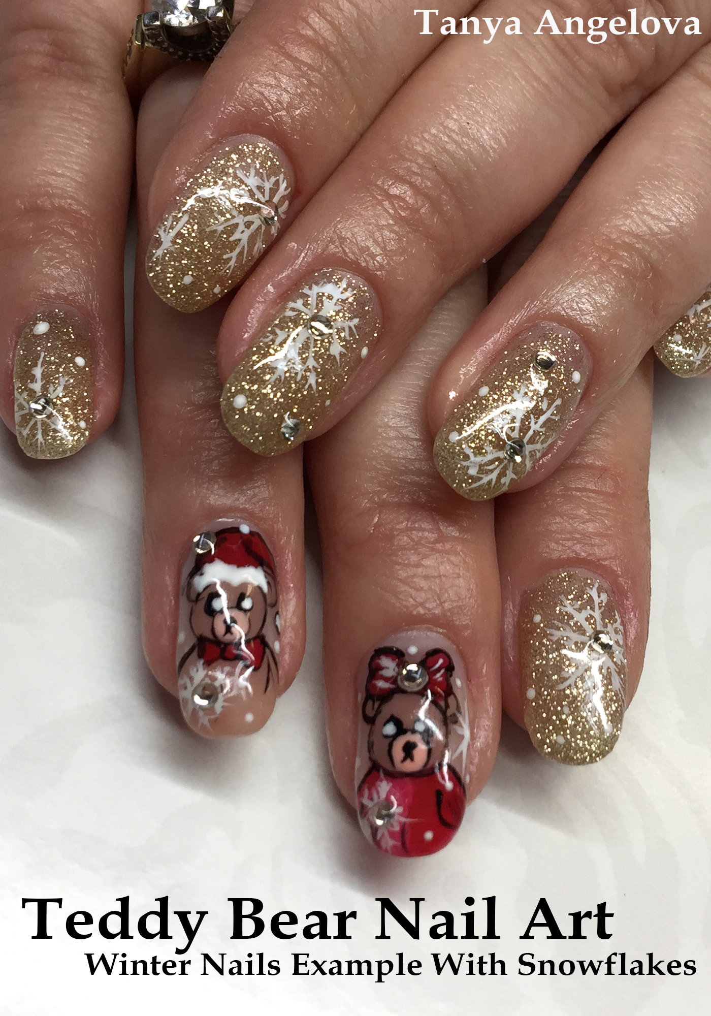 Teddy Bear Nail Art - Winter Nails Example With Snowflakes