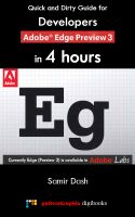 Cover for 'Quick and Dirty Guide for Developers:  Adobe Edge Preview 3 in 4 Hours'