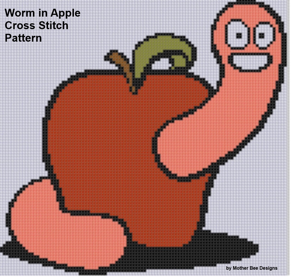 Worm in Apple Cross Stitch Pattern