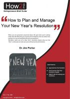 Dr Jim Porter - How to Plan and Manage Your New Year's Resolutions