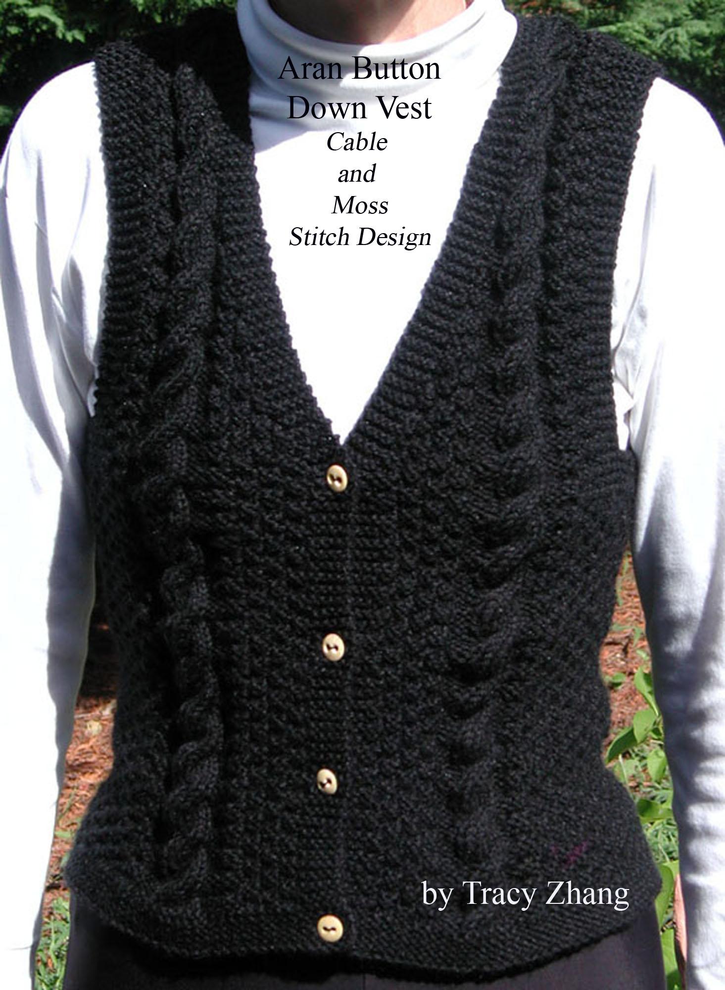 Smashwords Aran Button Down Vest Moss And Cable Stitch Design