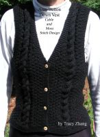 Tracy Zhang - Aran Button Down Vest Moss and Cable Stitch Design Knitting Pattern