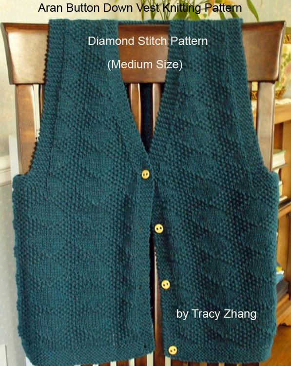 Smashwords Aran Button Down Vest Knitting Pattern Diamond Stitch